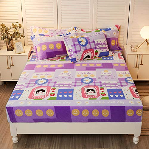 LCFCYY Hypoallergenic Breathable Bed Sheets,Winter thick velvet fitted sheets, warm non-slip mattress protector, suitable for boys girls bedrooms-K_120cmx200cm