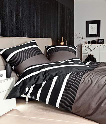 Janine Mako-Satin Bettwäsche J. D. 8468 135x200,40x80 cm Farbe Taupe Bettwäsche Bettlaken Kissenbezug Bezug Kopfkissenbezug Bettbezug Baumwollbezug Baumwolbettwäsche Schlafzimmer
