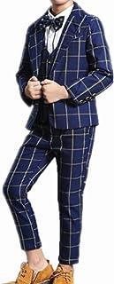 (チェリーレッド) CherryRed 男の子 フォーマルスーツ 格子縞 長袖 3点セット