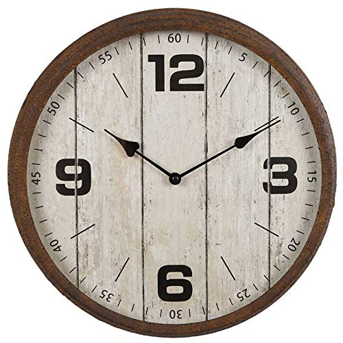L'Héritier Du Temps Horloge Murale Pendule Ronde de Cuisine ou Salon Intérieur Extérieur en Bois Patiné Blanc et Métal Effet Rouillé 9x38x38cm