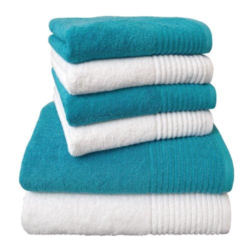 """Dyckhoff 0410996430 Juego de toallas """"Brilliant"""" Calidad 550 g / m2, 6 piezas, blanco / turquesa"""