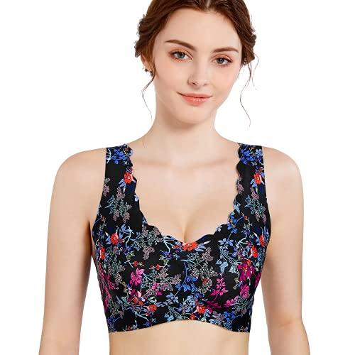 Niidor Women's Seamless Wireless Bra Thin Soft Daily Bras Painted Yoga Bra Sleep Leisure Bra
