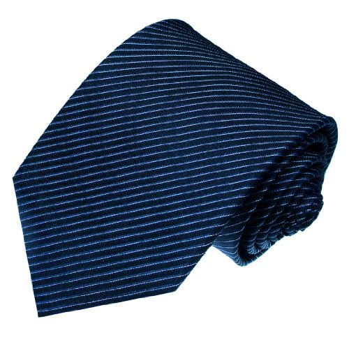 Lorenzo Cana - Blau Marineblau Weiss gestreifte Luxus Krawatte aus 100{79c2b7eccebda3751bf0ce2cf886303001c951bc105f9fa77e63333e907f9995} Seide - 84232