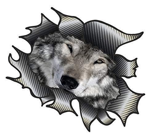 Classique Carbone Rip Métal Déchiré Design avec Loup Gris Motif Sticker Autocollant Vinyle Voiture 105x130mm