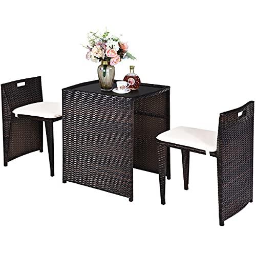 COSTWAY 3PCS Garden Furniture Set, Wicker Bistro Set Sofa Coffee Table with...