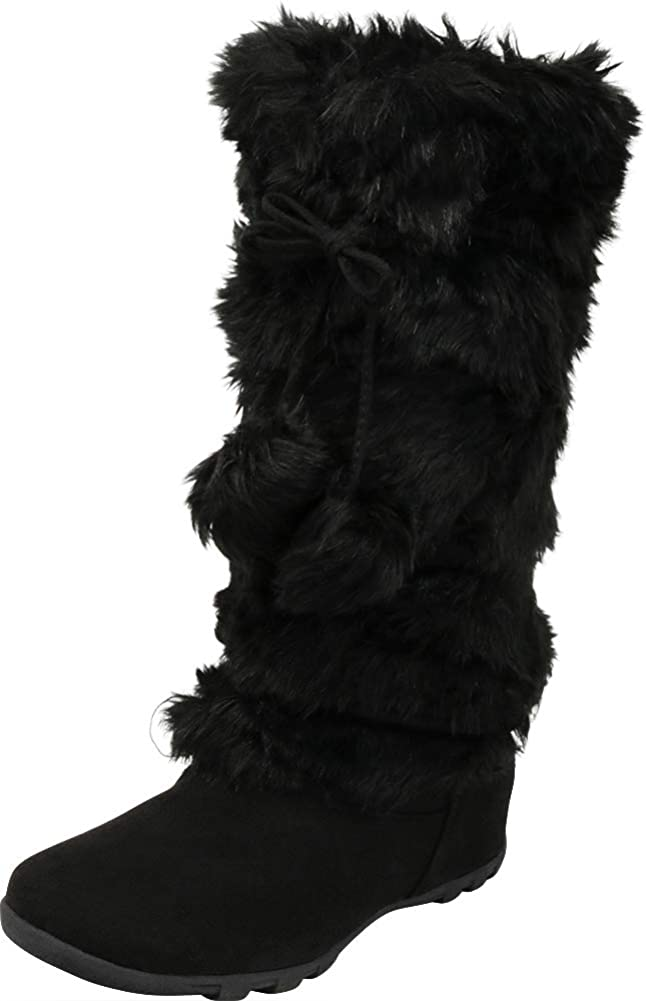 Cambridge Select Women's Faux Fur Pom-Pom Crisscross Tie Flat Mid-Calf Boot