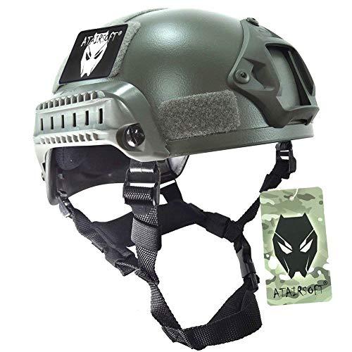 MICH 2000 Kampf Schutz Helm mit Seite Schiene /& NVG Reittier Blattwerk gr/ün FG f/ür Airsoft Taktisch Milit/är Paintball Jagd