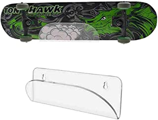 HAI+ Wall Mount Longboard Skateboard Hanger, Invisible Clear Shelf, Display Rack, for Fits Skateboard, Longboard, Skis, Snowboards, Water Skis and Electric Skateboard