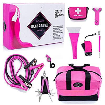 Gears Out Pretty Pink Roadside Kit - Pink Emergency kit for Teen Girls and Women - Lightweight, Soft-Sided Carry Bag with Pink Jumper Cables, First aid kit, and Pink Tools, 5 Year Warranty by Gears Out