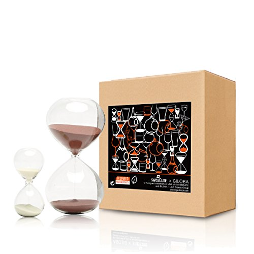 BILOBA, Set di 2 clessidre a Sabbia in Vetro per calcolare Il Tempo, 30 Minuti (o 60 Minuti) e 5 Minuti, 5.6 inch,30 Mins(+/-180S) 3.2 inch,5 Mins(+/-30S)