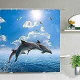ZZYJKSD Wasserdichter Stoff Duschvorhang Set, Romantisch, Paar, Delphin, Niedlich, Ozean, Tier, Tropischer Fisch, Badezimmerdekor - 180X200CM