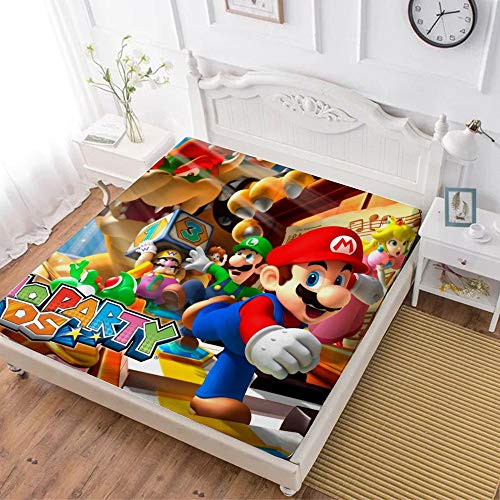 Fitted Sheet,Super Mario Luigi Princesse Peach Daisy Yoshi Bowser (1),Soft Wrinkle Resistant Microfiber Bedding Set,with All-Round Elastic Deep Pocket, Bed Cover for Kids & Adults,queen (70x80 inch)