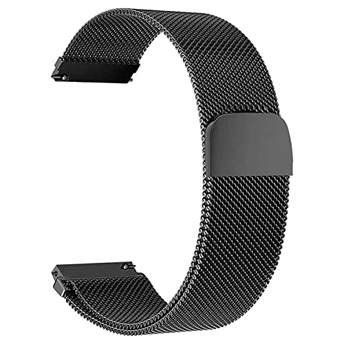 20mm Quick Release Watch Band Metal Strap Compatible with Amazfit Bip U Pro and Amazfit GTS,Garmin Vivoactive 3,Galaxy Watch Active 2,Samsung Galaxy Watch 42mm,Galaxy Watch 3 41mm Smartwatch (Black)