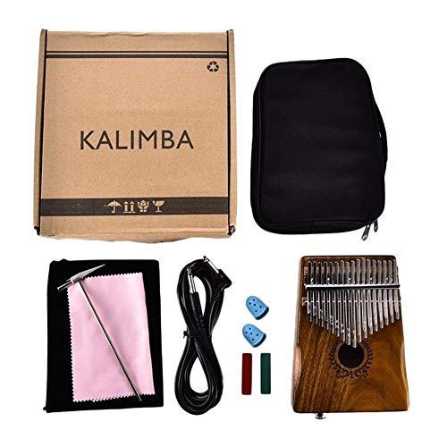 Kalimba, Daumenklavier 17 Tasten EQ Kalimba Kit Piano Fest Akazienholz Finger Mbira mit Beutel + 3M-Kabel + Tuner Hammer + Song Book Geschenke Daumenklavier Musikinstrument