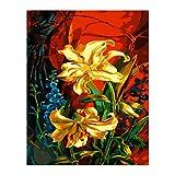 Zhxx Pintar Por Numeros Rotulador Amarillo Rojo Oro Flor Lienzo Decoración De La Boda Imagen Artística Regalo 40X50Cm Sin Marco