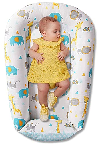 Baby Lounger Nest, Reversible Baby Nest Sleeper, Cozy Soft Crib Bassinet Portable Infant Lounger, Made of Durable Cotton Cover and Hypoallergenic Filling, Perfect for Co-sleeping and Traveling, Safari