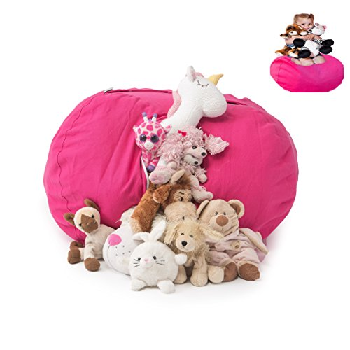"""T-Bugs Best Stuffed Animal Storage Bean Bag Chair, Premium Cotton Canvas Toy Organizer for Kids Bedroom, Perfect Storage Solution for Plush Toys, Blankets, Towels & Clothes (27"""", Pink)"""