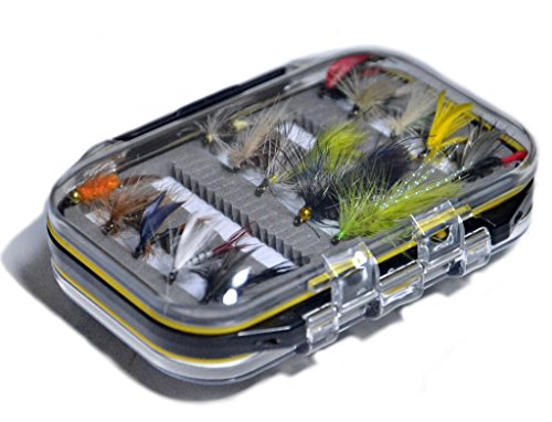 Outdoor Planet Double Side Waterproof Pocketed Fly Box + Assorted Trout Fly Fishing Lure Pack of 15 Pieces Fly Lure