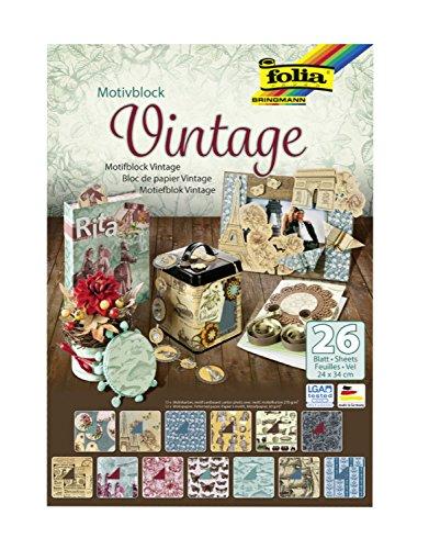 folia 47549 - Motivblock Vintage, 24 x 34 cm, 26 Blatt sortiert, 13 x Motivkarton 270 g/qm und 13 x Motivpapier 80 g/qm, für vielfältige Bastelarbeiten