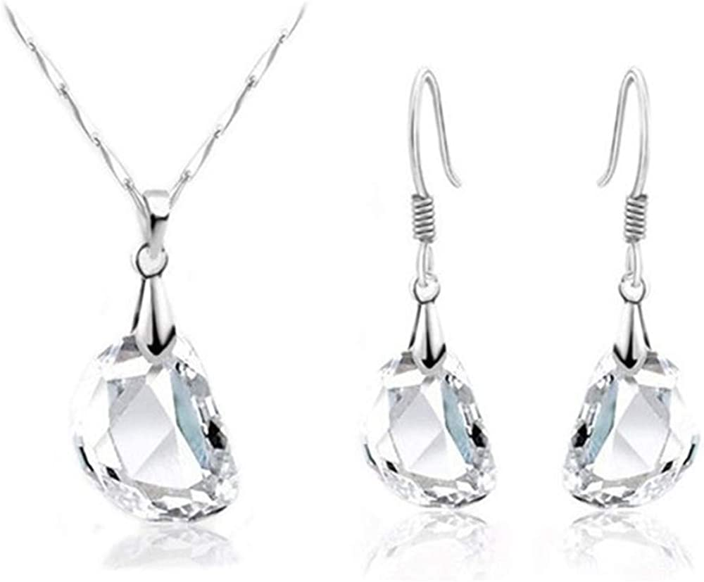 RIZILIA Jewelry Set Clear Pea Shape Pendant with 18
