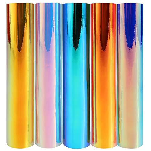 5er Hologramm Plotterfolie selbstklebend, 12x12 Zoll Selbstklebende Vinylfolie, Vinyl Klebefolie, Vinylblätter zum Basteln und Aufkleben auf glatten Oberflächen, mehrfarbige Opal-Bastelblätter