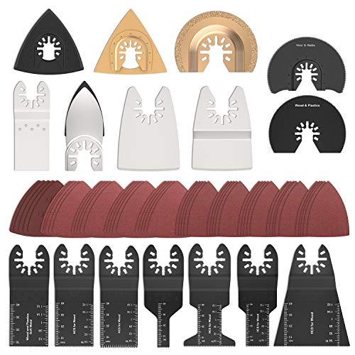 66Stk Oszillierende Sägeblätter Kit Multitool Oszillierwerkzeug-Zubehör Sägeblätter Mix Multi Tool Blades Kit zum Schleifen/Schneiden Universal Multitool für Bosch, Fein Multimaster