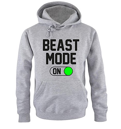 Comedy Shirts - Beast Mode - ON - Herren Hoodie - Grau/Schwarz-Neongrün Gr. L