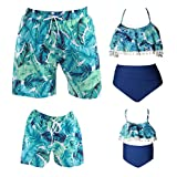 Family Matching Swimsuits with Pockets - Mens Boy Swim Trunks - Women Gril Bikini Bathing Suits (Blue, Father-M fit Waist: 32'-34')