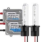 Chemini 2x bombillas de xenón H1 HID 6000K xenón blanco+2x balastos digitales ultradelgados de 55W para el kit de conversión de faros de xenón HID automóvil Luces de cruce/Haz alto Faro