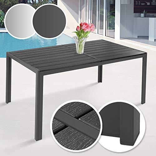 MIADOMODO Gartentisch 150 x 90 cm - aus Stahl und Kunststoff, für bis zu 6 Personen, Witterungs- und UV-beständig, in Grau - Metall Tisch Garten Balkon Esstisch Sitzgarnitur...