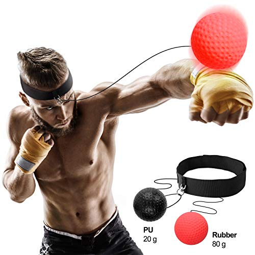 Megoal Boxing Reflex Ball Set Training Balls On String Punching Fight React Head Ball with 2 Difficulty Level Headband Speed Hand Eye Training Reaction
