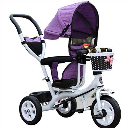 APcjerp Cochecito for niños de 8 Meses - 6 años, con Dosel, Vendaje de Goma (Color: púrpura, tamaño: B) (Color : Purple, Size : B)