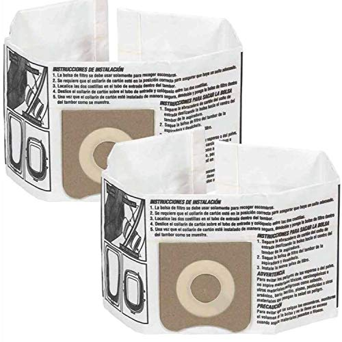 WORKSHOP Wet Dry Vacuum Bags WS32045F Fine Dust Collection Shop Vacuum Bags (2 Shop Vacuum Bags), Bag Filter For WORKSHOP 3-Gallon To 4-1/2 Gallon Shop Vacuum Cleaners