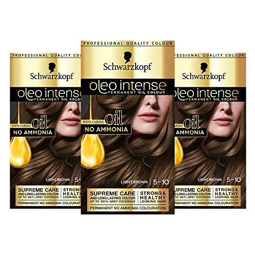Schwarzkopf Oleo Intense Blonde Hair Dye, Permanent Oil Colour, No Ammonia, Covers Greys, 5-10 Light Brown