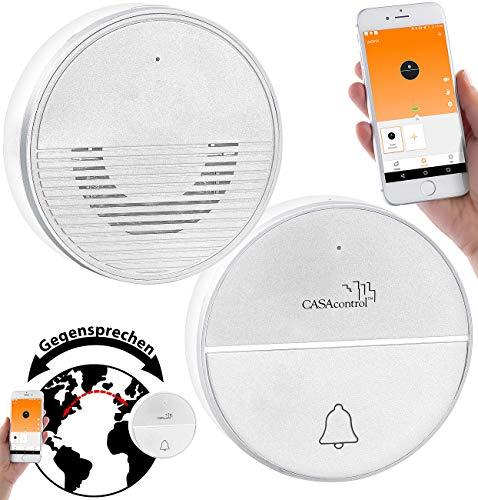 CASAcontrol Funkklingeln: Funk-Türklingel mit WLAN und Gegensprech-Funktion per App, 50 m (Gegensprechanlage Funk)