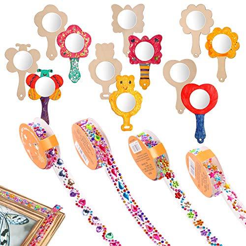 Globaldream 12 Piezas Espejo De Molde De Madera con 4 Rollos Pegatinas Brillantes para DIY Decoración Niños Manualidades