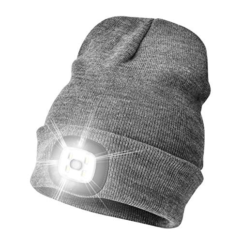 Etsfmoa Unisex LED Beanie Hat with Light, Gift for Men and Women USB Rechargeable Winter Knit Lighted Headlight Hats Headlamp Skull Cap (Grey)