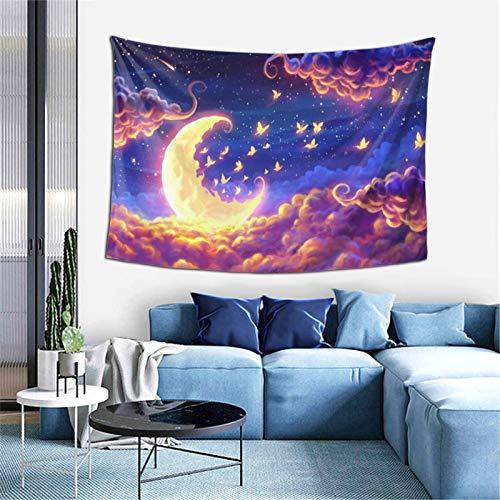 Sandpipper Tapiz para colgar en la pared, diseño de luna de fantasía de colores, para decoración del hogar, decoración de dormitorio, sala de estar, dormitorio, alfombra de pared, 156,2 x 100,2 cm