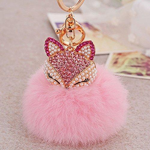 Bluelans® Neuheit Schlüsselanhänger aus Kunstpelz Fellbommel Bommel Taschenanhänger Geburtstagsgeschenk (Rosa/Rose Rot)