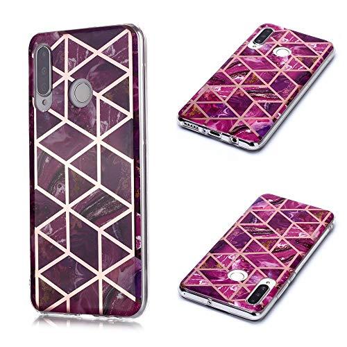 Nadoli Galvanisieren Marmor Handyhülle für Huawei P30 Lite,Weich Silikon Marble Hülle Schlank Bumper Handytasche Flexible Schutzhülle Back Cover,Lila