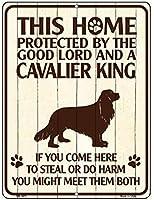Smart Blonde ビンテージ風 英語版 おしゃれな 猛犬注意の看板 プレート 犬がいます 屋外OK 錆びないアルミ製 (レギュラー (23x30.5cm), キャバリア) P-1673