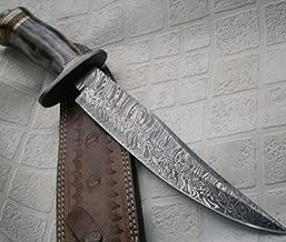 Poshland REG 599 Custom Handmade Damascus Steel Bowie Knife- Stunning Colored Handle