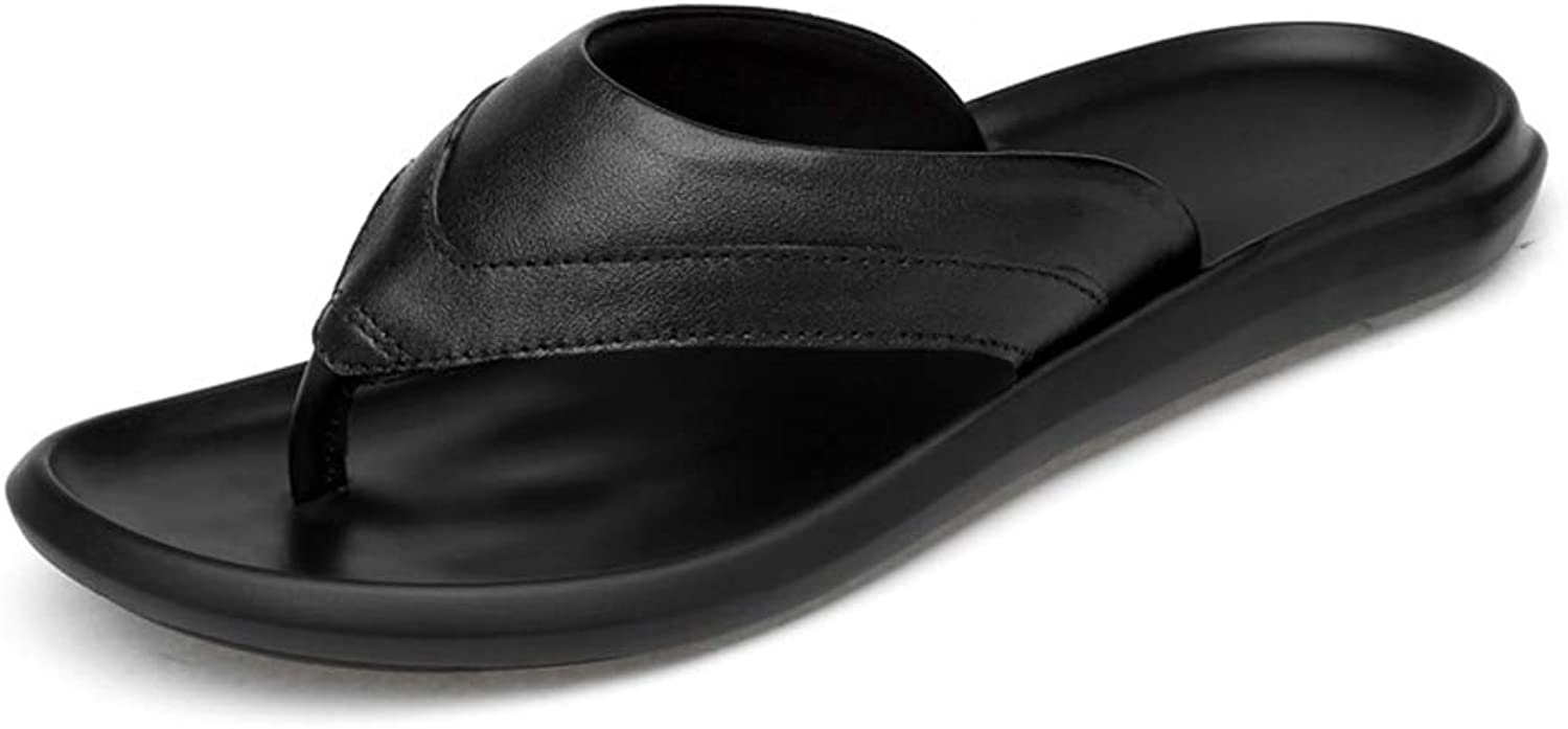 Leather Beach Men's Slippers Minimalism Casual Outdoor Breathable Non-Slip Sandals for Home Bathroom Gym
