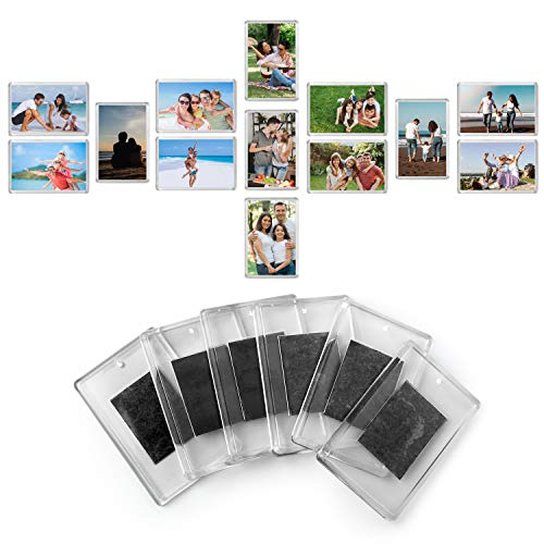 Magnetic Frame (20 Pack) - 2.7 x 1.7 inch Picture Insert Size - Blank Photo Frame for Refrigerator - Clear Acrylic Frame Fridge Magnets - Magnetic Picture Frames to Display Family Photos, Fun for Kids