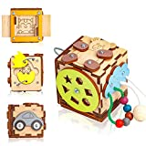 BizzzyJoy Wooden Activity Cube for Toddlers 1-3 year 6in1 Car Lacing Beads Puzzles - 3.15 х 3.15 h - Sensory Busy Board – Travel Plane Handmade Fidget Toys – Baby Kids Montessori Activities (Teddy)