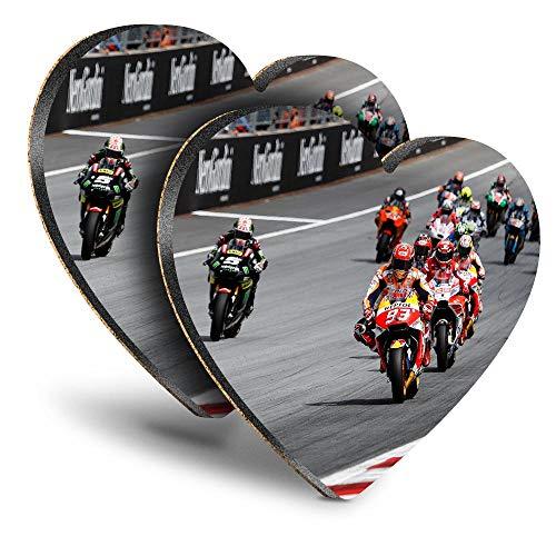 Destination Vinyl ltd Great Posavasos (juego de 2) con diseño de corazón – MotoGP Super Sports Moto Drink brillante posavasos / protección de mesa para cualquier tipo de mesa #14308