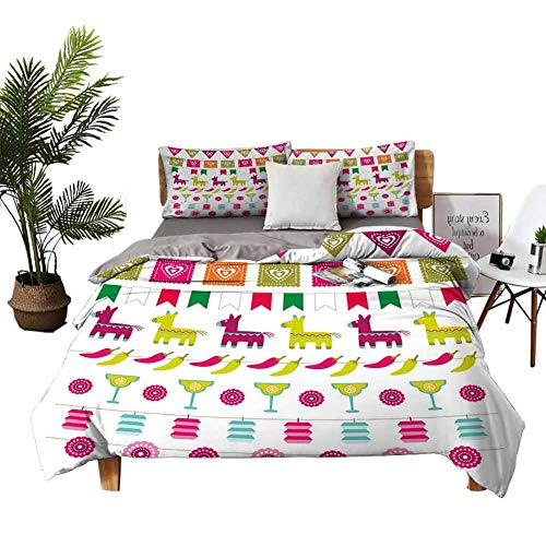 DRAGON VINES Bed Sheets King Fiesta Pocket Full of Sheets Latin American Motifs Flags Chili Peppers Cocktails Mexican Flag Color Party Pattern W79 xL90 Multicolor