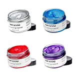 MOFAJANG 4 Colors Temporary Hair Color Wax Silver Grey Purple Red Blue Natural Hairstyle Cream coloring for Men Women Kids Party Cosplay Date Halloween