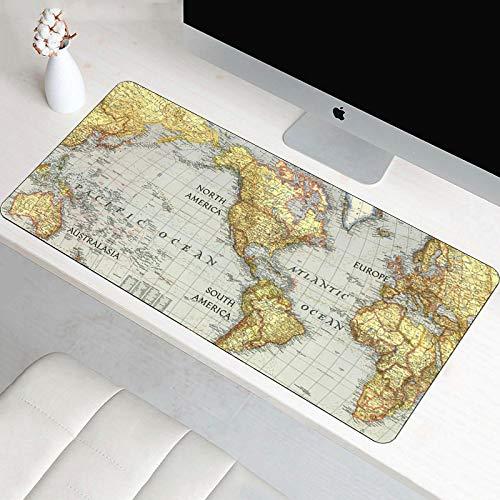 alfombrilla de ratón grande Escritorio Gaming Grande XXL 1200x600x3mm Mapa del mundo de piel de oveja vintage Alfombrilla para Ratón PC Mouse Pad Impermeable Cojín de Ratón Antideslizante Mousepad par