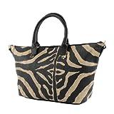 LOOKAT - Damentasche Lederimitat Tiermuster Groß LKB821, Farbe:Schwarz/Camel